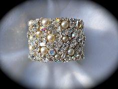 "Swarovski Rhinestone and Pearl Cuff Bracelet - 1.5"" wide"