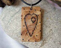 Rustic Heart Necklace Wood Pendant on Leather by SepiaTree on Etsy