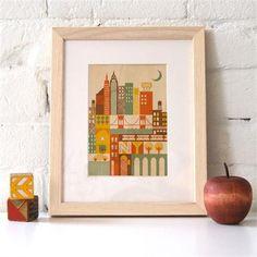 Framed New York City Print on Wood
