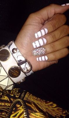 White with negative space coffin Nails with bling fing
