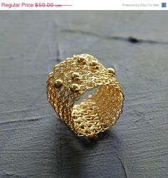 Holiday SALE Wire crochet gold band ring sporadic gold by Yoola, $40.00