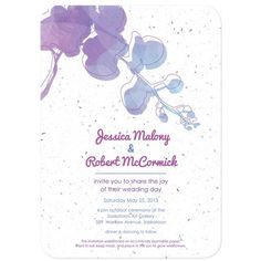 Water Color Orchids Wedding Invitation #purple #seed paper #flower