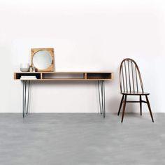Marston Wide Console Table on Mid Century Hairpin Legs Minimalist Desk, Minimalist Furniture, Custom Desk, Custom Furniture, Table Desk, Console Table, Wood Plugs, Hairpin Legs, Bespoke Design