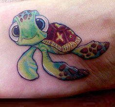 """Squirt"" from Finding Nemo tattoo."