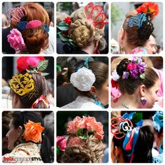 peinetas y flores en el pelo
