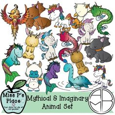Animals Clipart Set: Mythical & Imaginary [Miss P's Place]  This 30-image set is a unique addition to your products that will spark your students' imaginations! You will get 10 black and white images and 20 colorful graphics; all original and detailed artwork to put in your products. This is the perfect set to use in resources that talk about fiction v. non-fiction, mythological creatures, and products with an imaginary theme!