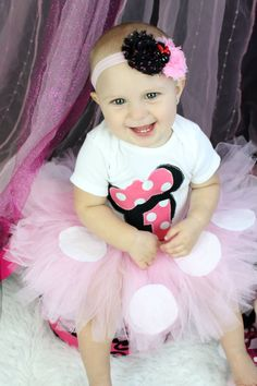 Minnie Mouse First Birthday Set Girls First by MendingLifeTogether, $55.00