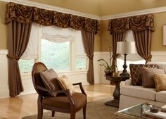 Accent relaxed #shades and soft side panels with a decorative #valance. #BudgetBlinds