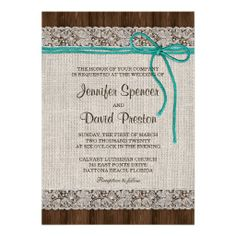 A rustic wedding invitation featuring a burlap background with lace and turquoise twine on dark brown wood #Rustic #Wedding