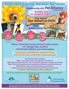 Mark your calendars for March 25 and join Seminole County Animal Services for their 14th Annual Adopt-A-Thon. Not only can you adopt a pet, but Seminole County residents can receive free rabies shots, pet licenses, and microchips for their pets.