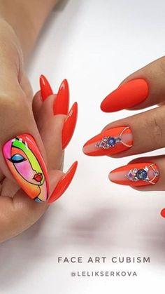 Pop Art Nails, Cute Nail Art, Easy Nail Art, Crazy Nail Designs, Simple Nail Designs, Nail Art Designs, Cute Almond Nails, Almond Nail Art, Super Cute Nails