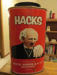"Vintage ""HACKS"" English Candy Tin-Great Look!!"