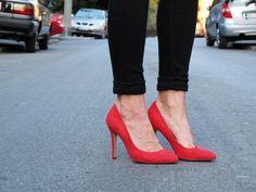 red high heels ...