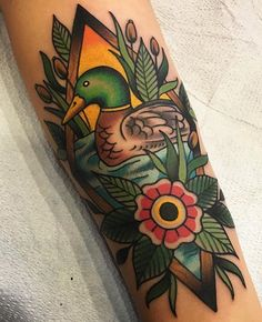 Mallard duck tribute for the grandparents, thanks again Brooke! #ducks #traditionaltattoo #tattooart #oldlines #bright_and_bold #realtattoos #tattoodo #americanatattoos