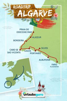 Algarve Roadtrip - All tips and information for a perfect vacation on Portugal's beautiful coast. Whether farm, Lagos or Albufeira - you should not miss these stops and highlights. The adventure c Surf Portugal, Visit Portugal, Portugal Travel, Portugal Trip, Europa Tour, Portugal Holidays, Road Trip, Travel Expert, Holiday Destinations