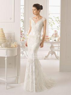Dream Mermaid/Trumpet v-neck cap sleeves lace ivory Wedding Dresses PMLD0022