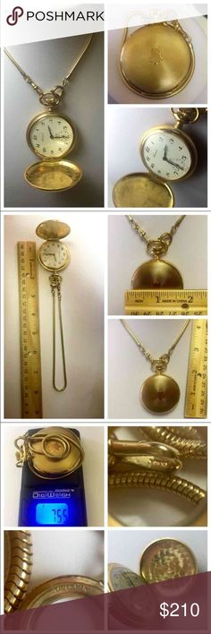 """ANTIQUE 12k GOLD FILLED POCKET WATCH & SNAKE CHAIN Absolutely gorgeous Antique (was grandfather's) Arnex 17 Jewels INCABLOC Swiss Made Pocket Watch. Snake texture chain, 12"""" fully extended, marked twice with 1/20 12K (aka 20 microns of 12K Gold~or 1/20 of entire piece ~can last many lifetimes. 5 to 10 times thicker than regular gold plating, and 15 to 25 times thicker than gold electroplate/HGE. Chain has very sturdy clasp & hook. Total watch weight, with chain, is an impressive 75.5 grams…"""