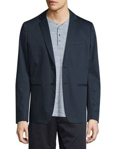 VINCE UNCONSTRUCTED TWO-BUTTON SATEEN JACKET, NAVY. #vince #cloth #