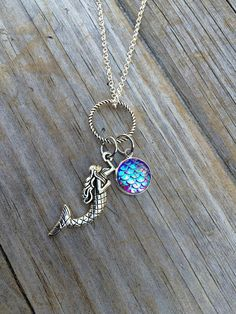 Mermaid and Scale Necklace Charm Necklace Mermaid Necklace