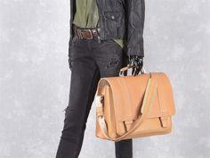 Aktentasche mit 2 Fächern Leder Herren Damen Schultasche Lehrertasche Businesstasche Tasche Umhängetasche natur braun