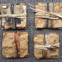 Cardboard Sculpture, Book Sculpture, Sculptures, Collages, Collage Art, Tea Bag Art, Mini Canvas Art, Found Object Art, Textile Fiber Art