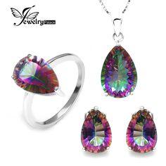 Fait Main Bijoux Amour CœUr Rainbow Mystic Topaz Gemstone Silver Dangle Earrings