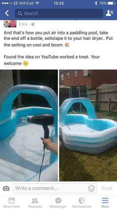 How to blow up a kiddie pool