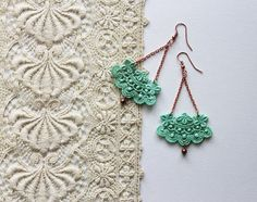 large lace earrings // NEOLA // lucite green / chandelier earrings / vintage lace / dangle earrings / gift for her