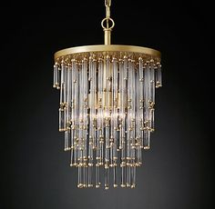 Luciano Pendant Antique Burnished Brass 14 in | RH Modern