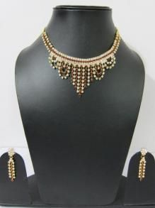 Ruby Zircons Stone Studded Necklace Earring Set Victorian Jewelry$79.00