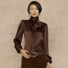 Ralph Lauren Blue Label Silk Charmeuse Annie Blouse in Brown (dark chocolate) Blouse Sexy, Bow Blouse, Silk Charmeuse, Silk Satin, Bluse Outfit, Suits For Women, Clothes For Women, Look Formal, Satin Bluse