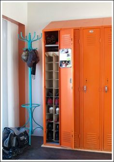 Upright shoe storage in vintage lockers!  Wouldn't these be great in the garage, just outside the mud room?  You could keep all the family's most worn shoes from even coming inside the house & being very nearby the car!