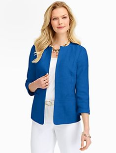 Talbots - Refined Linen No-Close Jacket   Color: Murano Glass Blue May 10, 2015