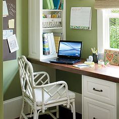 The vibrant green in this office space gives a modern touch to this charming coastal cottage. | SouthernLiving.com