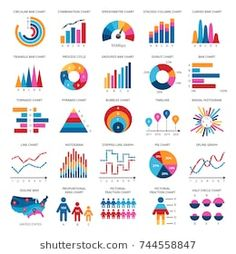 Color finance data chart vector icons. Statistics colorful presentation graphics and diagrams. Chart and diagram data, finance graphic pie and bar illustration