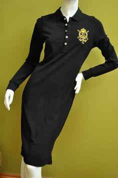 Ralph Lauren Sport Women Black Crest  Polo Dress Sz M #RalphLauren #SweaterDress #Casual