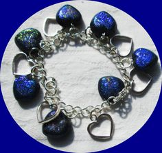 small hearts from a home made mould with deep blue UTEE and blue glitter