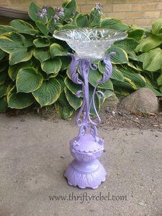 diy-wrought-iron-candle-holder-birdbath Follow www.thriftyrebel.com