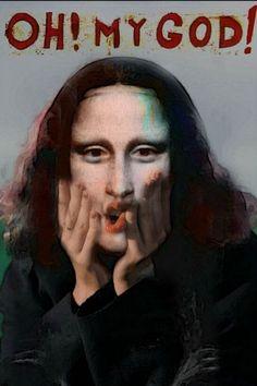 Mona Lisa Parody, Mona Lisa Smile, Van Gogh, Fan Art, Walls, Friends, Paper, Finger Nails, Women