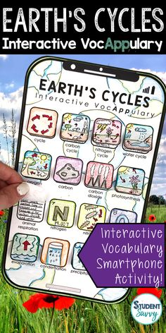 Earth's Cycles Interactive VocAPPulary™ This creative resource is a simple, yet effective way for students to learn vocabulary on a specific topic!Vocabulary words included in this set: cycle, carbon cycle, nitrogen cycle, water cycle, oxygen cycle, carbon, carbon dioxide, photosynthesis, animal respiration, nitrogen, nitrites, oxygen, evaporation, condensation, precipitation, collection