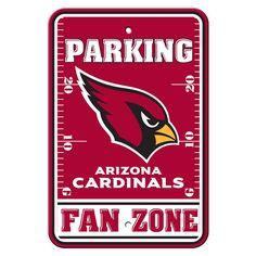 Arizona Cardinals Sign - Plastic - Fan Zone Parking - 12 in x 18 in