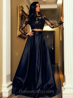 Long Sleeve Prom Dress, Two Piece Prom Dresses, Black Evening Gowns, Satin Party Dresses, A-line Formal Dresses