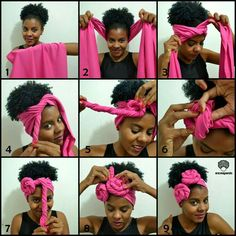 16 ways to use a scarf if you have afro hair or braids ASTUCES Hair Wrap Scarf, Hair Scarf Styles, Curly Hair Styles, Hair Scarfs, Natural Hair Tips, Natural Hair Styles, Pelo Afro, Bad Hair Day, Scarf Hairstyles