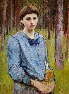 Bertha Wegmann (1847 - 1926) - Portrait of a Woman in a Blue Dress