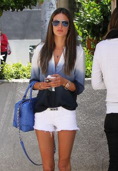 Street Style | Love the Ombré Shirt and White Jean cut-offs Aviator Sunglasses  and Blue Leather Satchel =0)