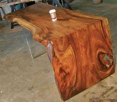 Reclaimed monkeypod desk, lucite leg, live edge, raw edge | eBay