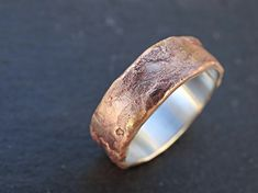 bronze ring silver band mens wedding ring bronze by CrazyAssJD