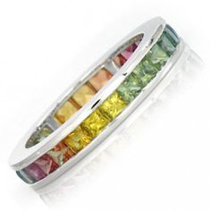 Multicolor Rainbow Sapphire Eternity Band Ring 18k White Gold (5ct tw) : sku R2043-18k-wg by RainbowSapphire on Etsy https://www.etsy.com/listing/98384045/multicolor-rainbow-sapphire-eternity