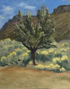 """""""Taos Tree near Hieroglyphs"""" - © Mary Pyche - on masonite - in - Painted en plein air during a painting trip to Taos. After the trip I worked on it in my studio. I tried to capture all the elements native to that area. Fine Art Gallery, Nativity, Mary, The Originals, Studio, Artist, Painting, Christmas Nativity, Study"""