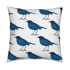 Catalan Throw Pillow featuring bird_royal_blue_aqua_paint_silh by 13moons_design | Roostery Home Decor